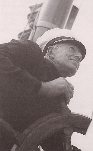 Billy Mooney at the helm of the 74ft Mylne yawl Mariella in 1949. A consummate diplomat in sailing, he helped the establishment of the Irish Yachting Federation in 1947 in order to have the first Irish Olympic Sailing Challenge in 1948.
