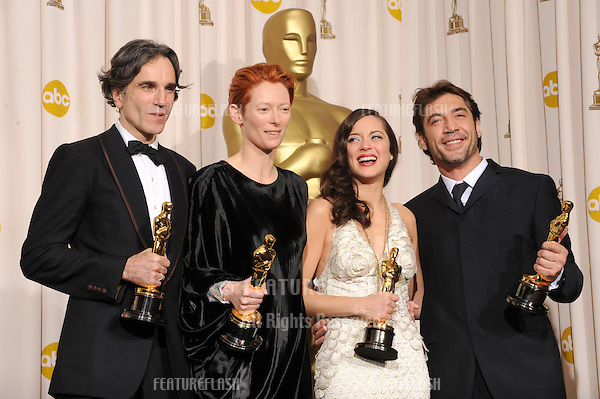 Daniel Day Lewis & Tilda Swinton & Marion Cotillard & Javier Bardem at the 80th Annual Academy Awards at the Kodak Theatre, Hollywood..February 24, 2008 Los Angeles, CA.Picture: Paul Smith / Featureflash