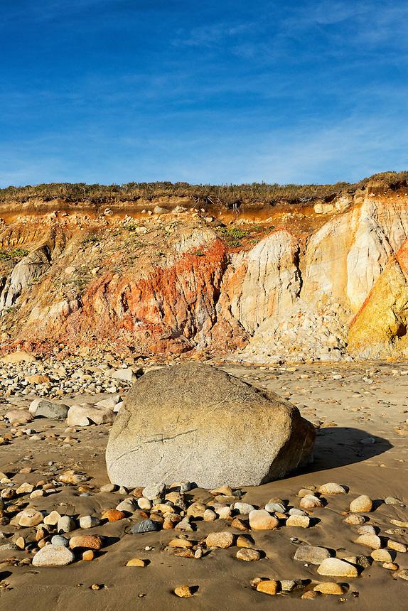 Coastal clay cliffs and rock formations, Gay Head, Aquinnah, Martha's Vineyard, Massachusetts, USA. Tribal lands of the native american Wampanoag tribe.
