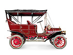 Red 1908 McLaughlin-Buick Model F antique vintage retro car side view isolated on white background with clipping path Image © MaximImages, License at https://www.maximimages.com