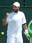 Sony Ericsson 2011.James Blake in action, defeating Thomaz Bellucci of Brazil, in the second round of the Sony Ericsson Open, played at Crandon Park, Miami, Florida..