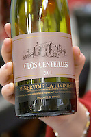 Clos Centeilles, Minervois La Liviniere in the hand of the producer, Languedoc, France