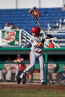 Auburn Doubledays center fielder Ricardo Mendez (17) at bat during a game against the Batavia Muckdogs on June 28, 2018 at Dwyer Stadium in Batavia, New York.  Auburn defeated Batavia 14-9.  (Mike Janes/Four Seam Images)