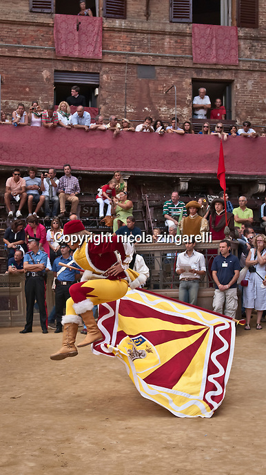 The flag wavers of the contrada (distrct) of Valdimontone during their exhibition