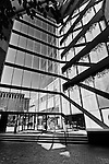PNC Bank Interior, Dayton Ohio showing architectural angles and lines. Black and white. View of front of building from interior.