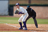 High Point Panthers first baseman Cole Singsank (16) on defense against the Bryant Bulldogs at Williard Stadium on February 21, 2021 in  Winston-Salem, North Carolina. The Panthers defeated the Bulldogs 3-2. (Brian Westerholt/Four Seam Images)
