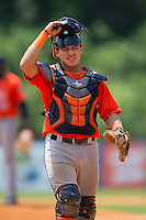 Greeneville Astros catcher Gabriel Bracamonte (18) on defense against the Kingsport Mets at Hunter Wright Stadium on July 7, 2015 in Kingsport, Tennessee.  The Mets defeated the Astros 6-4. (Brian Westerholt/Four Seam Images)