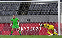 21st July 2021. Tokyo, Japan; Kyah Simon of Australia heads the low ball during for womens football match G match between Australia and New Zealand at Tokyo 2020 in Tokyo, Japan