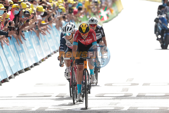 Dylan Teuns (BEL) Bahrain Victorious, Kenny Elissonde and Julien Bernard (FRA) Trek-Segafredo and Sergio Henao Montoya (COL) Qhubeka-NextHash cross the finish line at the end of Stage 15 of the 2021 Tour de France, running 191.3km from Céret to Andorre-La-Vieille, Andorra. 11th July 2021.  <br /> Picture: Colin Flockton | Cyclefile<br /> <br /> All photos usage must carry mandatory copyright credit (© Cyclefile | Colin Flockton)