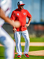 21 February 2019: Washington Nationals Manager Dave Martinez watches over infield drills during a Spring Training workout at the Ballpark of the Palm Beaches in West Palm Beach, Florida. Mandatory Credit: Ed Wolfstein Photo *** RAW (NEF) Image File Available ***