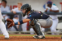 Jacksonville Jumbo Shrimp catcher Sharif Othman (17) waits to receive a pitch during a game against the Pensacola Blue Wahoos on August 15, 2018 at Blue Wahoos Stadium in Pensacola, Florida.  Jacksonville defeated Pensacola 9-2.  (Mike Janes/Four Seam Images)