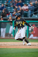 Luis Rengifo (5) of the Salt Lake Bees bats against the Sacramento River Cats at Smith's Ballpark on April 12, 2019 in Salt Lake City, Utah. The River Cats defeated the Bees 4-2. (Stephen Smith/Four Seam Images)