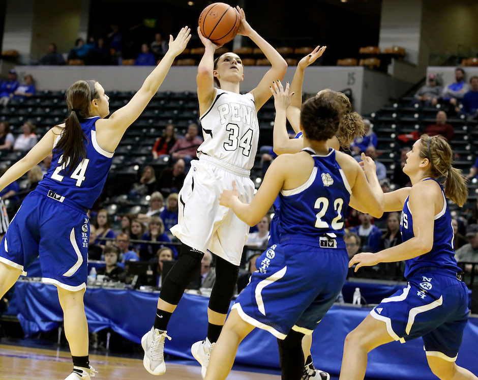 Penn guard/forward Camryn Buhr (34) shoots in traffic during the IHSAA Class 4A Girls Basketball State Championship Game on Saturday, Feb. 27, 2016, at Bankers Life Fieldhouse in Indianapolis.