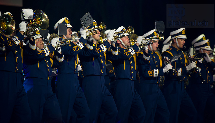 """Aug. 31, 2012; The Notre Dame Marching Band closes the """"Notre Dame a Welcome Home"""" pep rally at O2 arena in Dublin...Photo by Matt Cashore/University of Notre Dame"""