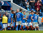 05.05.2018 Rangers v Kilmarnock: Jimmy Nicholl with the Rangers players after David Bates goal