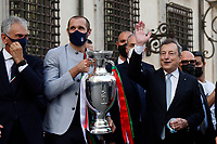 Giorgio Chiellini and Mario Draghi with the cup during the visit of the Italian National team at Palazzo Chigi, where the athletes met the Italian Premier after winning the UEFA Euro 2020 cup.<br /> Rome (Italy), July 12th 2021<br /> Photo Samantha Zucchi Insidefoto