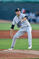 Grand Junction Rockies  starting pitcher Riley Pint (34) delivers a pitch to the plate against the Orem Owlz in Pioneer League action at Home of the Owlz on July 7, 2016 in Orem, Utah. The Owlz defeated the Rockies 15-3. (Stephen Smith/Four Seam Images)