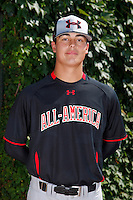Pitcher Aaron Smith #17 poses for a photo before the Under Armour All-American Game at Wrigley Field on August 13, 2011 in Chicago, Illinois.  (Mike Janes/Four Seam Images)