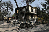 Pictured: A burned out house in Varibobi, Athens, Greece. Wednesday 04 August 2021<br /> Re: Forest fire in Varibobi, on the outskirts of Athens, Greece.