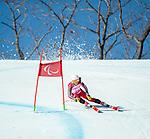 Mollie Jepsen, PyeongChang 2018 - Para Alpine Skiing // Ski para-alpin.<br /> Mollie Jepsen skis in the super combined // Mollie Jepsen skis dans le super combiné. 13/03/2018.