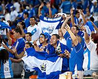 El Salvador fans cheer on the their team at RFK Stadium in Washington, DC.  Jamaica defeated El Salvador, 2-0.