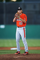 Aberdeen IronBirds starting pitcher Cody Sedlock (50) gets ready to deliver a warmup pitch during a game against the Batavia Muckdogs on July 15, 2016 at Dwyer Stadium in Batavia, New York.  Aberdeen defeated Batavia 4-2.  (Mike Janes/Four Seam Images)