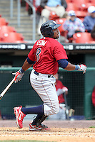 Lehigh Valley IronPigs third baseman Hector Luna #8 during a game against the Buffalo Bisons at Coca-Cola Field on April 19, 2012 in Buffalo, New York.  Lehigh Valley defeated Buffalo 8-4.  (Mike Janes/Four Seam Images)