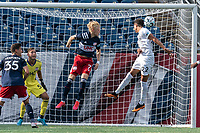 FOXBOROUGH, MA - JULY 25: USL League One (United Soccer League) match. Juan Ignacio Mare #22 of Union Omaha header goes wide during a game between Union Omaha and New England Revolution II at Gillette Stadium on July 25, 2020 in Foxborough, Massachusetts.
