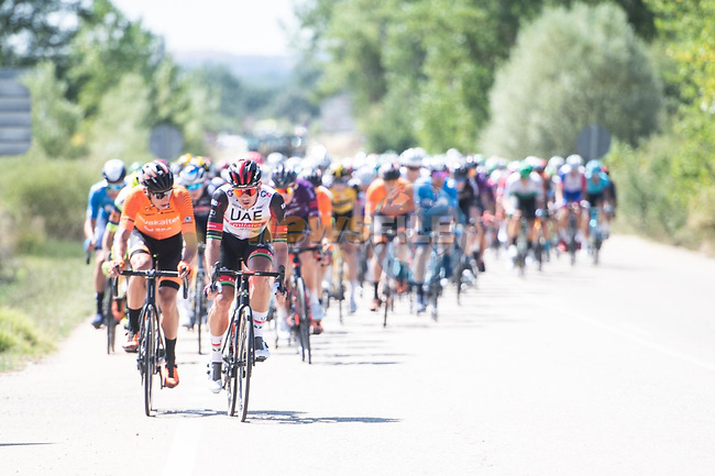 The breakaway forms during Stage 3 of La Vuelta d'Espana 2021, running 202.8km from Santo Domingo de Silos to Picon Blanco, Spain. 16th August 2021.    <br /> Picture: Unipublic/Charly Lopez | Cyclefile<br /> <br /> All photos usage must carry mandatory copyright credit (© Cyclefile | Unipublic/Charly Lopez)