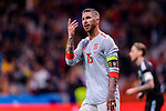 Sergio Ramos of Spain gestures during the International Friendly 2018 match between Spain and Argentina at Wanda Metropolitano Stadium on 27 March 2018 in Madrid, Spain. Photo by Diego Souto / Power Sport Images
