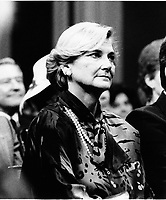 Quebec (QC) CANADA file photo -<br /> Dec 12 1985, Presentation of the new Robert Bourassa's Liberal Government at the National Assembly Salon Rouge. In photo : AndrÈe Simard,,Robert Bourassa's wife