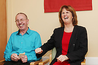 """NO REPRO FEE. 21/11/2011. New Alzheimer Day Centre at full capacity as demand for Alzheimer services grow. Minister for Social Protection Joan Burton T.D. officially opened """"Failte Day Centre"""", which will provide dementia-specific, person-centred care to people with dementia and their carers in Hartstown, Clonsilla. The Minister is pictured with client Christy Cummins from McKee Park who sang You never walk alone. The Alzheimer Society of Ireland, in partnership with the HSE, is currently operating 3 days a week caring for clients living with dementia who live in Castleknock. Picture James Horan/Collins Photos"""