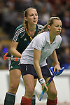 Berlin, Germany, February 01: During the 1. Bundesliga Damen Hallensaison 2014/15 final hockey match between Duesseldorfer HC (white) and HTC Uhlenhorst Muehlheim (green) on February 1, 2015 at the Final Four tournament at Max-Schmeling-Halle in Berlin, Germany. Final score 4-1 (1-0). (Photo by Dirk Markgraf / www.265-images.com) *** Local caption *** Katharina Windfeder #8 of HTC Uhlenhorst Muehlheim, Jenny Froehlich #8 of Duesseldorfer HC