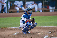Ogden Raptors catcher Ramon Rodriguez (3) during a Pioneer League game against the Great Falls Voyagers at Lindquist Field on August 23, 2018 in Ogden, Utah. The Ogden Raptors defeated the Great Falls Voyagers by a score of 8-7. (Zachary Lucy/Four Seam Images)