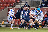 12th February 2021; AJ Bell Stadium, Salford, Lancashire, England; English Premiership Rugby, Sale Sharks versus Bath; Zach Mercer of Bath Rugby  powers towards Ross Harrison of Sale Sharks