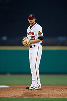 Rochester Red Wings starting pitcher Myles Jaye (15) looks in for the sign during a game against the Pawtucket Red Sox on May 19, 2018 at Frontier Field in Rochester, New York.  Rochester defeated Pawtucket 2-1.  (Mike Janes/Four Seam Images)