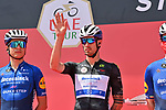 Mattia Cattaneo (ITA) Deceuninck-Quick Step wearing the Black Jersey at sign on before the start of Stage 3 of the 2021 UAE Tour running 166km from Al Ain to Jebel Hafeet, Abu Dhabi, UAE. 23rd February 2021.  <br />