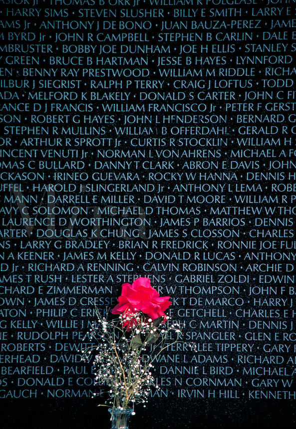 Flower left at the Wall, the Vietnam Veterans Memorial in Washington, DC. Washington DC USA.