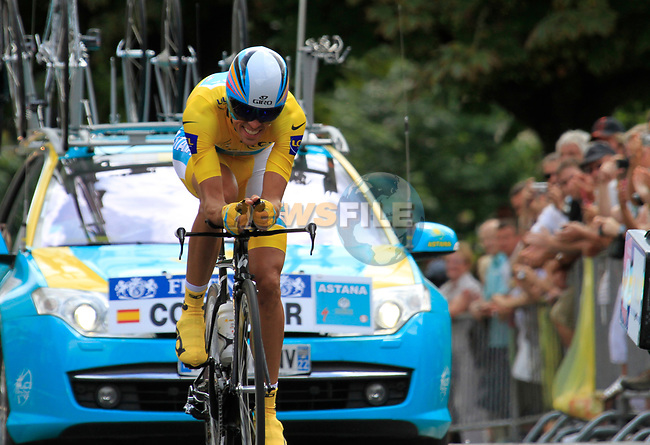 Yellow Jersey Alberto Contador (ESP) Astana in action during Stage 19 of the 2010 Tour de France an individual time trial running 52km from Bordeaux to Pauillac, France. 24th July 2010.<br /> (Photo by Eoin Clarke/NEWSFILE).<br /> All photos usage must carry mandatory copyright credit (© NEWSFILE | Eoin Clarke)