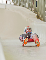 5 December 2014: Mitchel Malyk, sliding for Canada, crosses the finish line on his first run, ending the day with a 16th place finish and a combined 2-run time of 1:43.862 in the Men's Competition at the Viessmann Luge World Cup, at the Olympic Sports Track in Lake Placid, New York, USA. Mandatory Credit: Ed Wolfstein Photo *** RAW (NEF) Image File Available ***