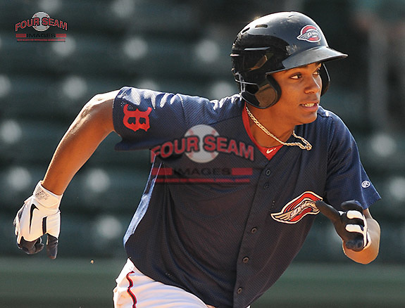Infielder Xander Bogaerts of the Greenville Drive in a game against the Rome Braves on August 15, 2011, at Fluor Field at the West End in Greenville, South Carolina. (Tom Priddy/Four Seam Images)