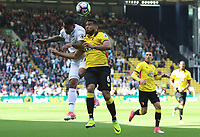 Luciano Narsingh of Swansea Citycontends with Adrian Mariappa of Watford for the aerial ball during  the Premier League match between Watford and Swansea City at Vicarage Road Stadium, Watford, England, UK. Saturday 15 April 2017