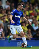 25th September 2021; Goodison Park, Liverpool, England; Premier League football, Everton versus Norwich; Michael Keane of Everton controls the ball