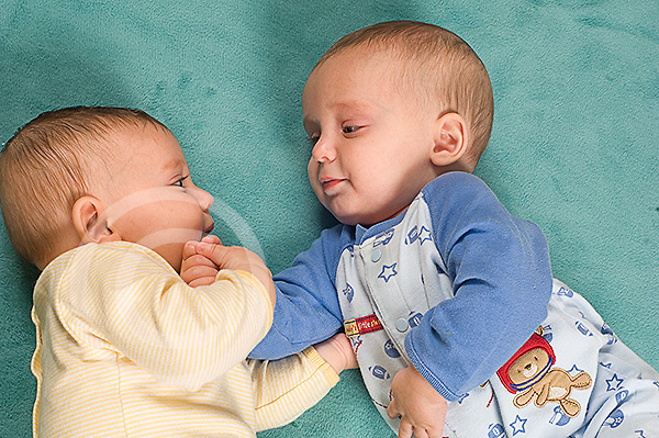 5 month old fraternal twin boys interaction