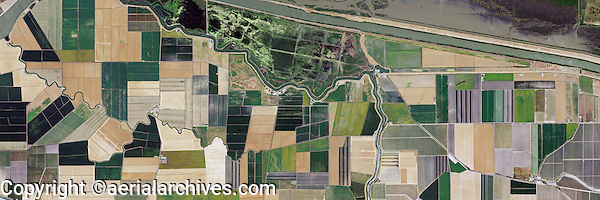 aerial photo map of farming Sacramento river delta, deep water shipping channel, California