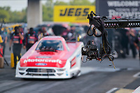 Jul 18, 2020; Clermont, Indiana, USA; Detailed view of the Fox Sports jib camera being used as NHRA funny car driver Bob Tasca III races during qualifying for the Summernationals at Lucas Oil Raceway. Mandatory Credit: Mark J. Rebilas-USA TODAY Sports