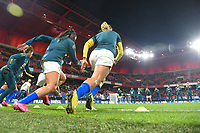 20200307  Valenciennes , France : Brazilian players  pictured during the warming up of the female football game between the national teams of France and Brasil on the second matchday of the Tournoi de France 2020 , a prestigious friendly womensoccer tournament in Northern France , on Saturday 7 th March 2020 in Valenciennes , France . PHOTO SPORTPIX.BE | DIRK VUYLSTEKE