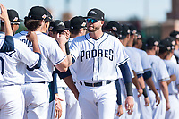 Peoria Javelinas catcher Austin Allen (24), of the San Diego Padres organization, during player introductions before the Arizona Fall League Championship game against the Salt River Rafters at Scottsdale Stadium on November 17, 2018 in Scottsdale, Arizona. Peoria defeated Salt River 3-2 in 10 innings. (Zachary Lucy/Four Seam Images)
