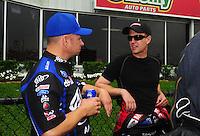 May 1, 2011; Baytown, TX, USA: NHRA funny car drivers Robert Hight (left) and Bob Tasca III during the Spring Nationals at Royal Purple Raceway. Mandatory Credit: Mark J. Rebilas-