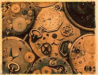 TIME - Antique Watch Parts - Still Life - Polaroid Transfer